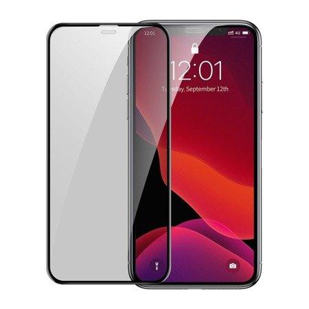 Baseus 2x szkło na cały ekran Full Screen 0.3mm 9H Privacy Anti-Spy iPhone 11 Pro / iPhone XS / iPhone X + pozycjoner czarny (SGAPIPH58S-WC01)