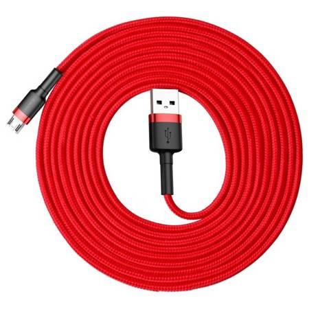 Baseus Cafule Cable wytrzymały nylonowy kabel przewód USB / micro USB 2A 3M czerwony (CAMKLF-H09)