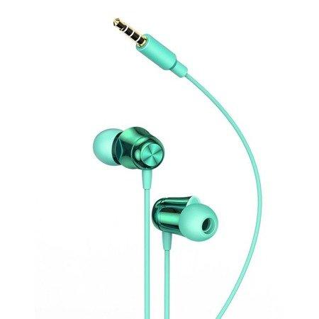 Baseus Encok H13 dokanałowe słuchawki 3.5mm mini jack zestaw słuchawkowy z pilotem zielony (NGH13-06)