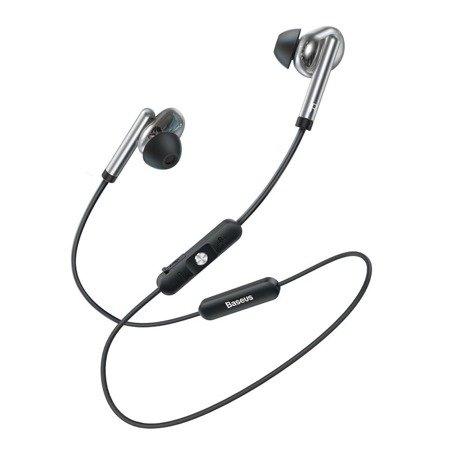 Baseus Encok S30 dokanałowe słuchawki bezprzewodowe Bluetooth 5.0 zestaw słuchawkowy z pilotem srebrny (NGS30-0S)