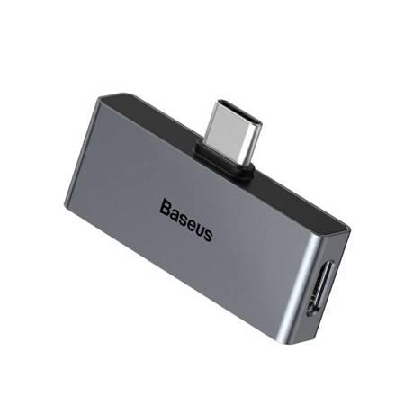 Baseus L57 adapter do słuchawek przejściówka z USB Typ C na USB Typ C + 3.5mm mini jack szary (CATL57-0A)