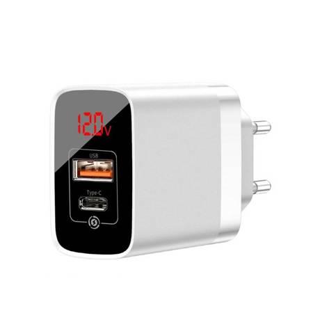Baseus Mirror Lake PPS szybka ładowarka Quick Charge 3.0 Power Delivery 3.0 USB / USB Typ C 18W z wyświetlaczem biały (CCJMHC-A02)