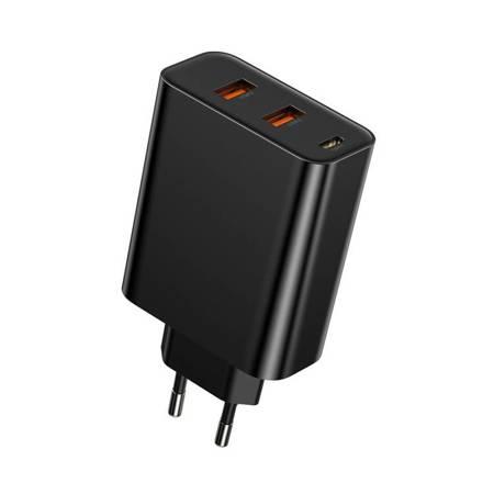 Baseus Speed PPS ładowarka Quick Charge 3.0 2x USB / USB Typ C PD Power Delivery 5A 60W czarny (CCFS-G01)