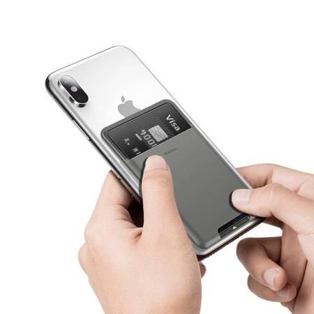 Baseus samoprzylepne etui na kartę karty dokumenty do telefonu ciemnoszary (ACKD-A0G)
