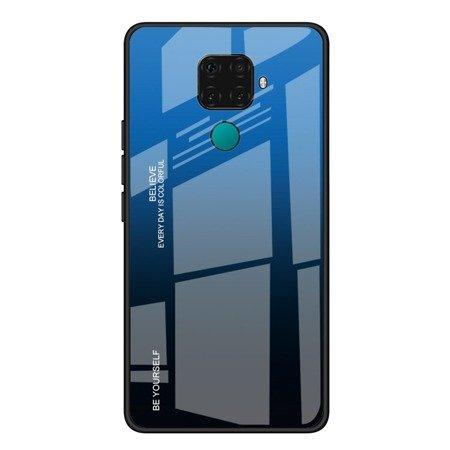 Gradient Glass etui pokrowiec nakładka ze szkła hartowanego Huawei Mate 30 Lite / Huawei Nova 5i Pro czarno-niebieski