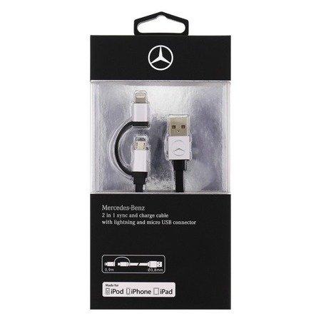 Mercedes kabel MECBUBK 2w1 lighting microUSB MFI 1m czarny/black