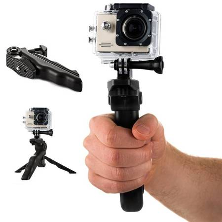 Uchwyt z mini statywem do kamer sportowych GoPro SJCAM czarny