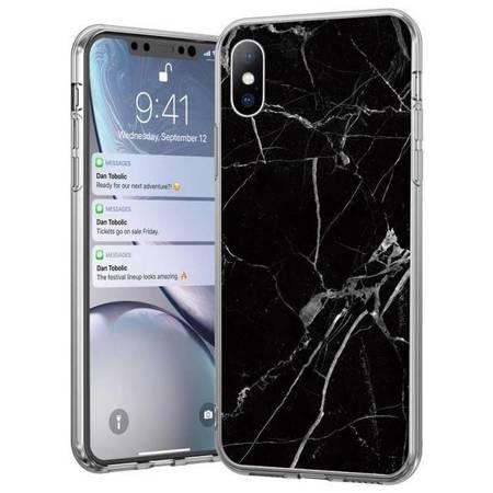 Wozinsky Marble żelowe etui pokrowiec marmur iPhone 8 Plus / iPhone 7 Plus czarny